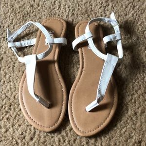 Hardly worn white thong sandals